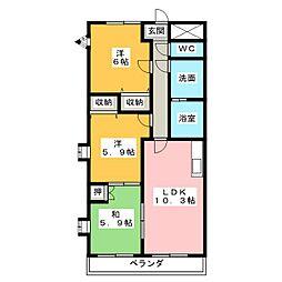 サプリーム中央[3階]の間取り