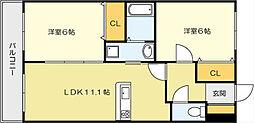 ニューシティーアパートメンツ 南小倉II[10階]の間取り