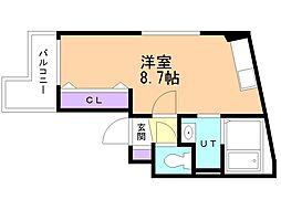 アレックス野幌II 4階ワンルームの間取り