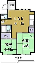大阪府大阪市港区三先1丁目の賃貸マンションの間取り