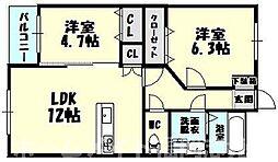 福岡県糟屋郡志免町向ヶ丘2丁目の賃貸マンションの間取り