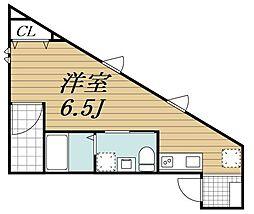 JR内房線 本千葉駅 徒歩9分の賃貸アパート 2階ワンルームの間取り