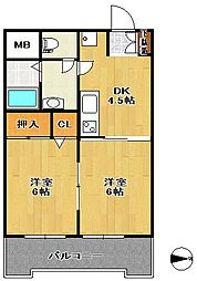 第十三ショーケービル[2階]の間取り