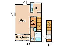 JR紀勢本線 紀三井寺駅 徒歩24分の賃貸アパート 2階1Kの間取り