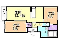 sunshine文京台 2階2LDKの間取り
