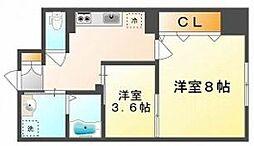 岡山県岡山市北区一宮の賃貸マンションの間取り