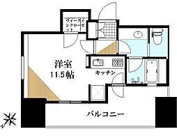 カテリーナ三田タワースイート 5階ワンルームの間取り