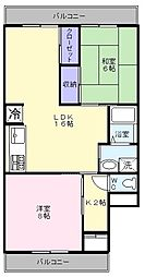 大阪府堺市西区浜寺諏訪森町中1丁の賃貸マンションの間取り