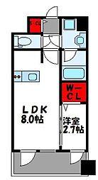 JR鹿児島本線 千早駅 徒歩4分の賃貸マンション 9階1LDKの間取り