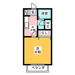 KEコーポ篠岡 1階1Kの間取り