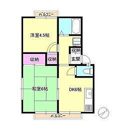 東京都八王子市長房町の賃貸アパートの間取り