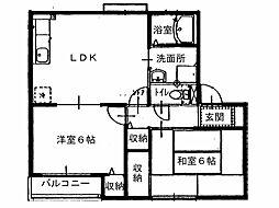 サンライズフジ1[1階]の間取り