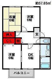 福岡県遠賀郡水巻町猪熊7丁目の賃貸アパートの間取り