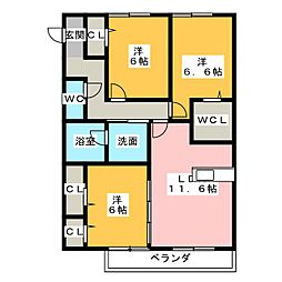 愛知県常滑市飛香台5丁目の賃貸アパートの間取り