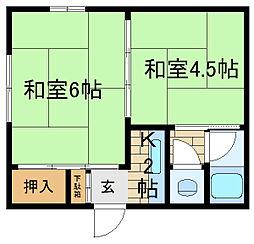 兵庫県神戸市長田区大谷町1丁目の賃貸アパートの間取り