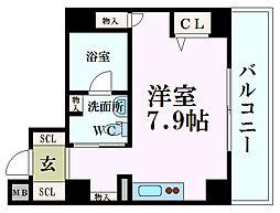 リンクハウス京町堀 10階ワンルームの間取り