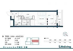 Branche平尾III east 1階1LDKの間取り