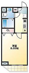 下寺マンション 2階1Kの間取り