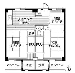 ビレッジハウス小比企 6号棟[4階]の間取り
