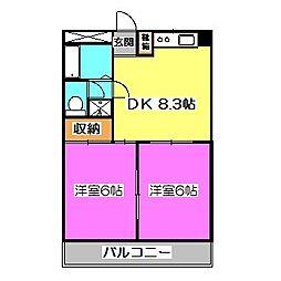 埼玉県狭山市富士見2丁目の賃貸マンションの間取り