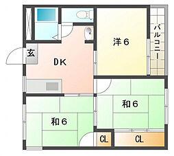 太秦グリーンハイツ[2階]の間取り