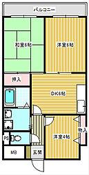 大阪府大阪市住之江区浜口東3丁目の賃貸マンションの間取り