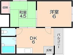 シャトル桜塚[203号室]の間取り