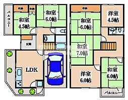 [一戸建] 大阪府堺市堺区砂道町1丁 の賃貸【/】の間取り