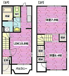[テラスハウス] 広島県安芸郡海田町国信2丁目 の賃貸【/】の間取り