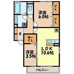 長崎県諫早市黒崎町の賃貸アパートの間取り