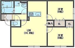 奈良県香芝市畑3丁目の賃貸アパートの間取り