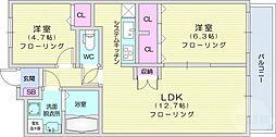 JR東北本線 南仙台駅 徒歩29分の賃貸マンション 3階2LDKの間取り