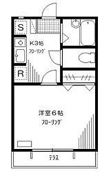 東京都世田谷区弦巻2丁目の賃貸アパートの間取り