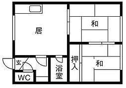 北海道札幌市清田区平岡二条3丁目の賃貸アパートの間取り