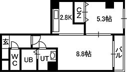 札幌市電2系統 資生館小学校前駅 徒歩3分の賃貸マンション 7階1LDKの間取り