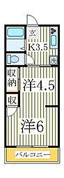 天王台アパート[2階]の間取り