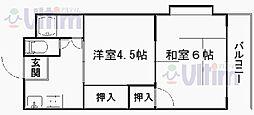 京都府京都市山科区勧修寺本堂山町の賃貸マンションの間取り