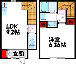 福岡市地下鉄空港線 東比恵駅 徒歩14分の賃貸アパート 2階1LDKの間取り