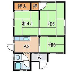 和歌山県和歌山市北野の賃貸アパートの間取り