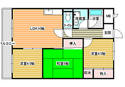 ディアコート藤井寺[102号室]の間取り