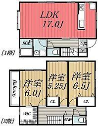 [テラスハウス] 千葉県千葉市若葉区都賀5丁目 の賃貸【/】の間取り