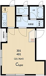 コマザワパークアベニュー 4階1Kの間取り