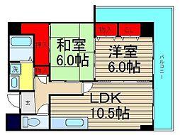 ルミナール南堀江[402号室]の間取り