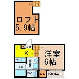 愛知県名古屋市瑞穂区松園町1丁目の賃貸アパートの間取り