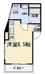 京阪本線 西三荘駅 徒歩4分の賃貸マンション 3階ワンルームの間取り