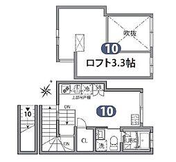東京メトロ丸ノ内線 後楽園駅 徒歩9分の賃貸アパート 2階ワンルームの間取り