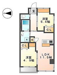 グランディール横濱[2階]の間取り