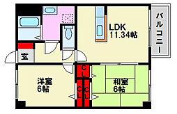 福岡県福岡市南区長住2丁目の賃貸マンションの間取り