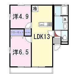 姫路市継アパート[101号室]の間取り