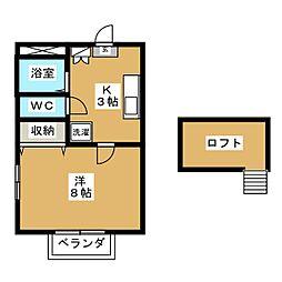 宮城県仙台市若林区若林3丁目の賃貸アパートの間取り